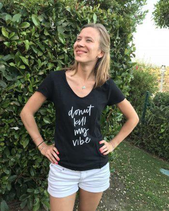 """""""Donut Kill My Vibe"""" Camiseta de Algodón Orgánico Negro"""